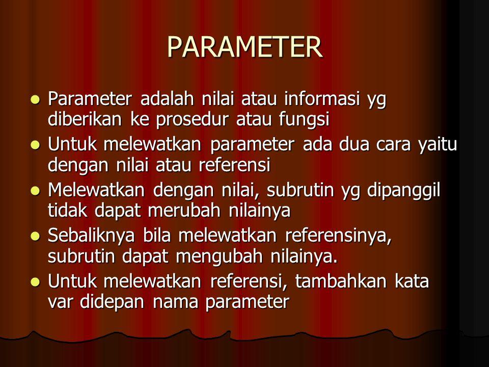 PARAMETER Parameter adalah nilai atau informasi yg diberikan ke prosedur atau fungsi.