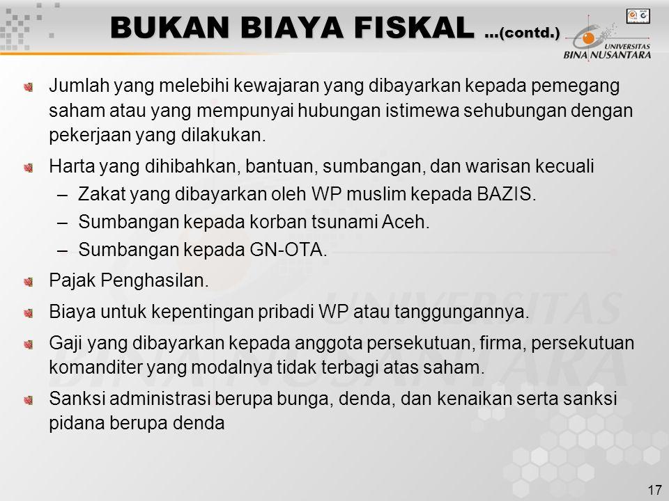 BUKAN BIAYA FISKAL …(contd.)
