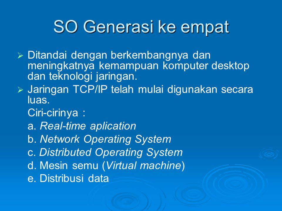 SO Generasi ke empat Ditandai dengan berkembangnya dan meningkatnya kemampuan komputer desktop dan teknologi jaringan.