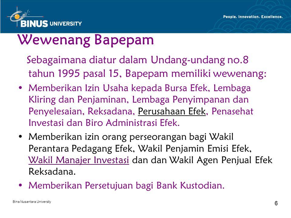Wewenang Bapepam Sebagaimana diatur dalam Undang-undang no.8 tahun 1995 pasal 15, Bapepam memiliki wewenang: