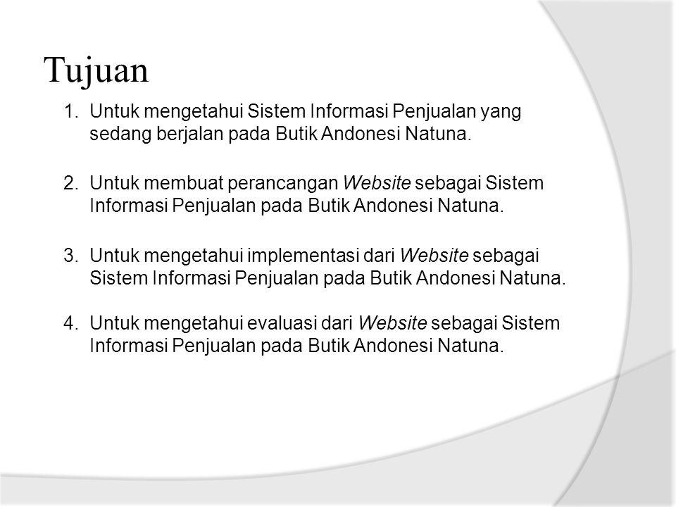 Tujuan Untuk mengetahui Sistem Informasi Penjualan yang sedang berjalan pada Butik Andonesi Natuna.