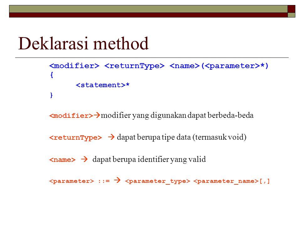 Deklarasi method <modifier> <returnType> <name>(<parameter>*) { <statement>* } <modifier>modifier yang digunakan dapat berbeda-beda.