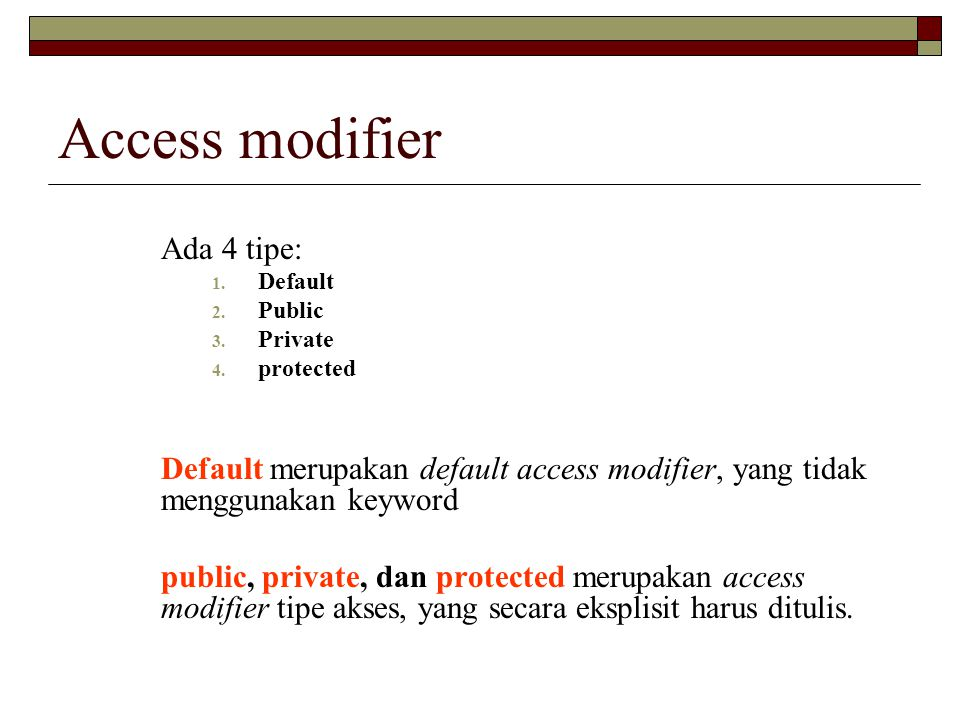 Access modifier Ada 4 tipe: