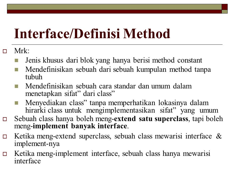 Interface/Definisi Method