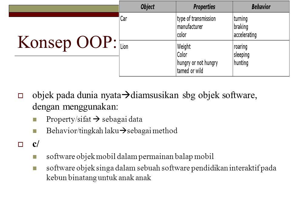 Konsep OOP: objek pada dunia nyatadiamsusikan sbg objek software, dengan menggunakan: Property/sifat  sebagai data.