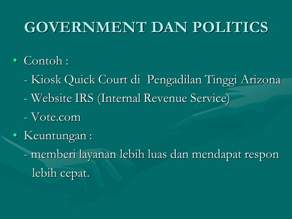 GOVERNMENT DAN POLITICS