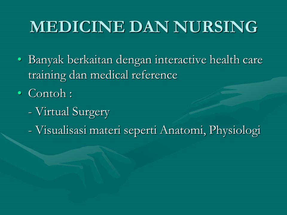 MEDICINE DAN NURSING Banyak berkaitan dengan interactive health care training dan medical reference.