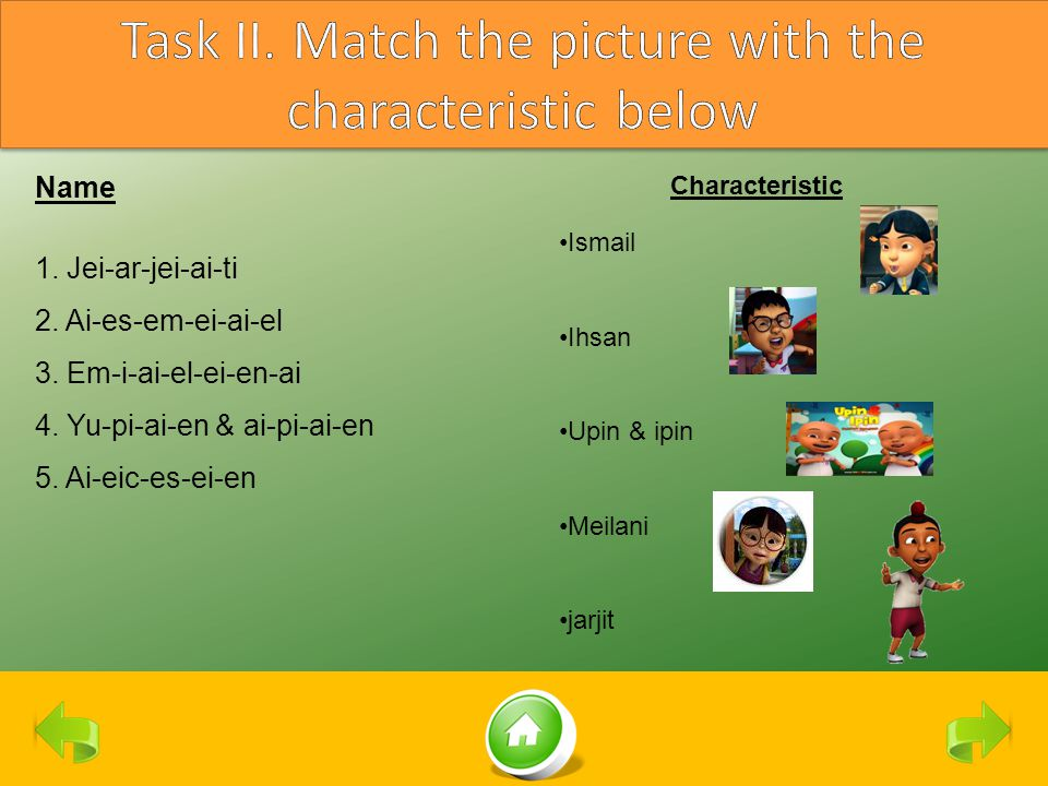 Task II. Match the picture with the characteristic below