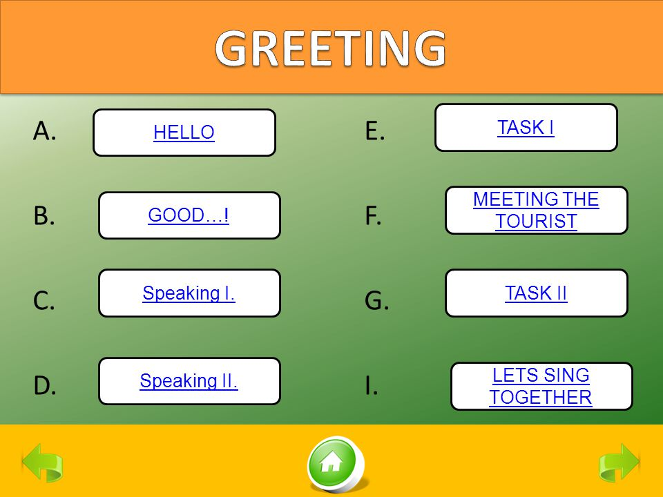 GREETING A. E. B. F. C. G. D. I. TASK I HELLO MEETING THE TOURIST
