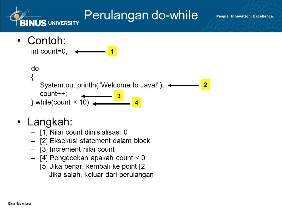 Perulangan do-while Contoh: Langkah: int count=0; do {