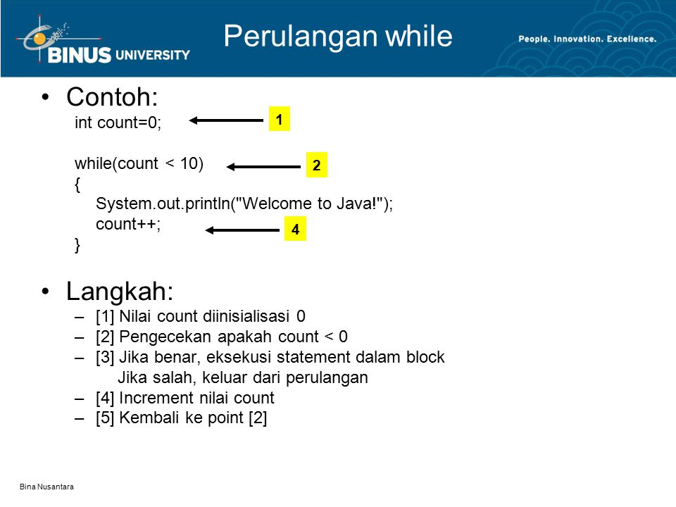 Perulangan while Contoh: Langkah: int count=0; while(count < 10) {