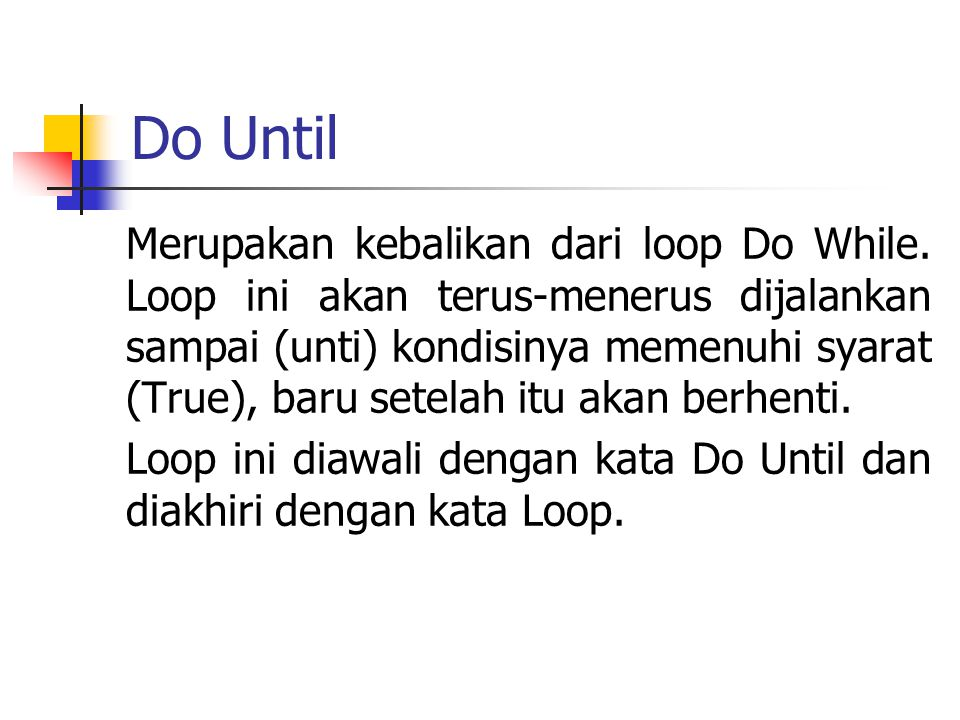 Do Until