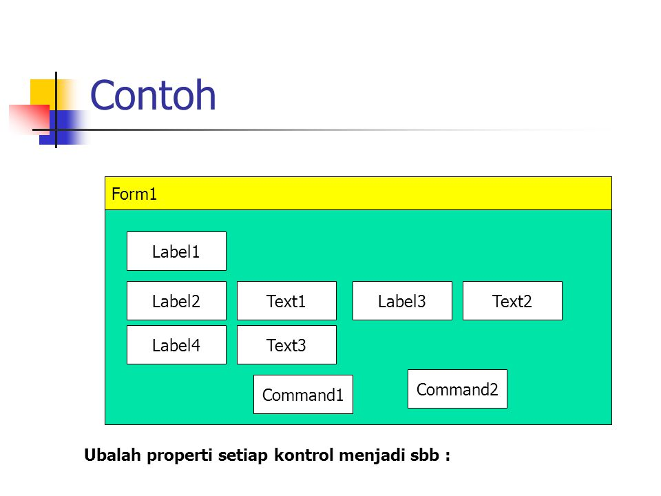 Contoh Form1 Label1 Label2 Text1 Label3 Text2 Label4 Text3 Command2