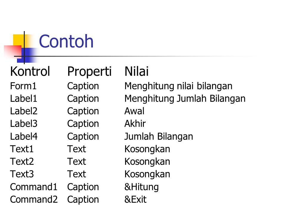 Contoh Kontrol Properti Nilai Form1 Caption Menghitung nilai bilangan