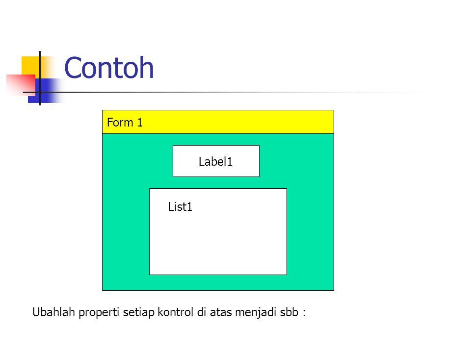 Contoh Form 1 Label1 List1 Ubahlah properti setiap kontrol di atas menjadi sbb :