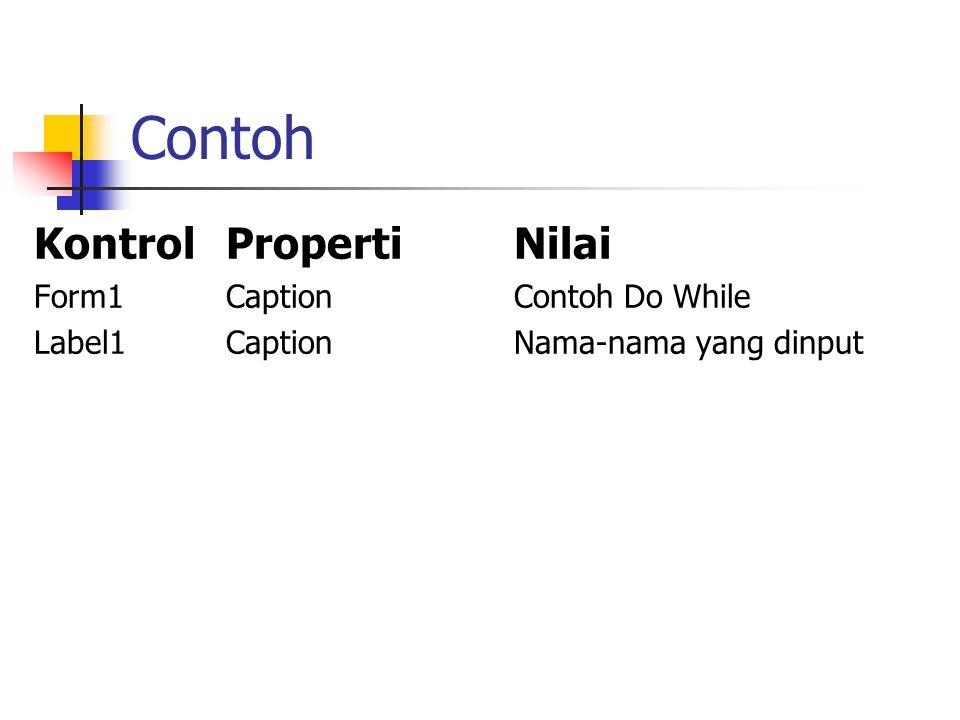 Contoh Kontrol Properti Nilai Form1 Caption Contoh Do While