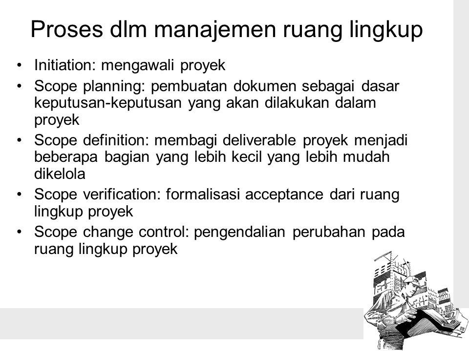 Proses dlm manajemen ruang lingkup