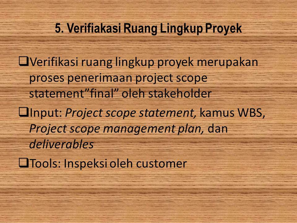5. Verifiakasi Ruang Lingkup Proyek