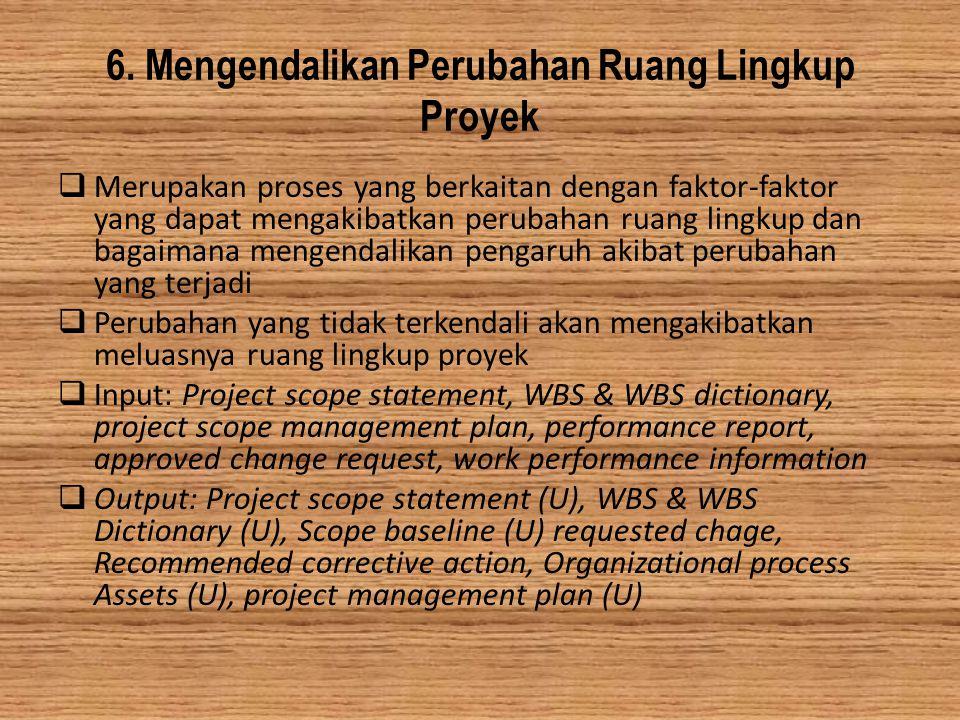 6. Mengendalikan Perubahan Ruang Lingkup Proyek