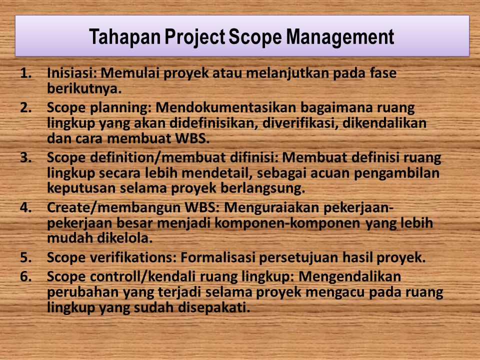 Tahapan Project Scope Management
