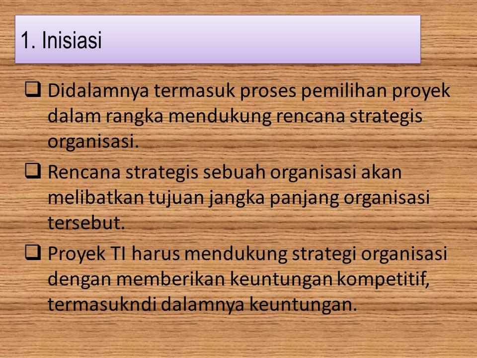 1. Inisiasi Didalamnya termasuk proses pemilihan proyek dalam rangka mendukung rencana strategis organisasi.