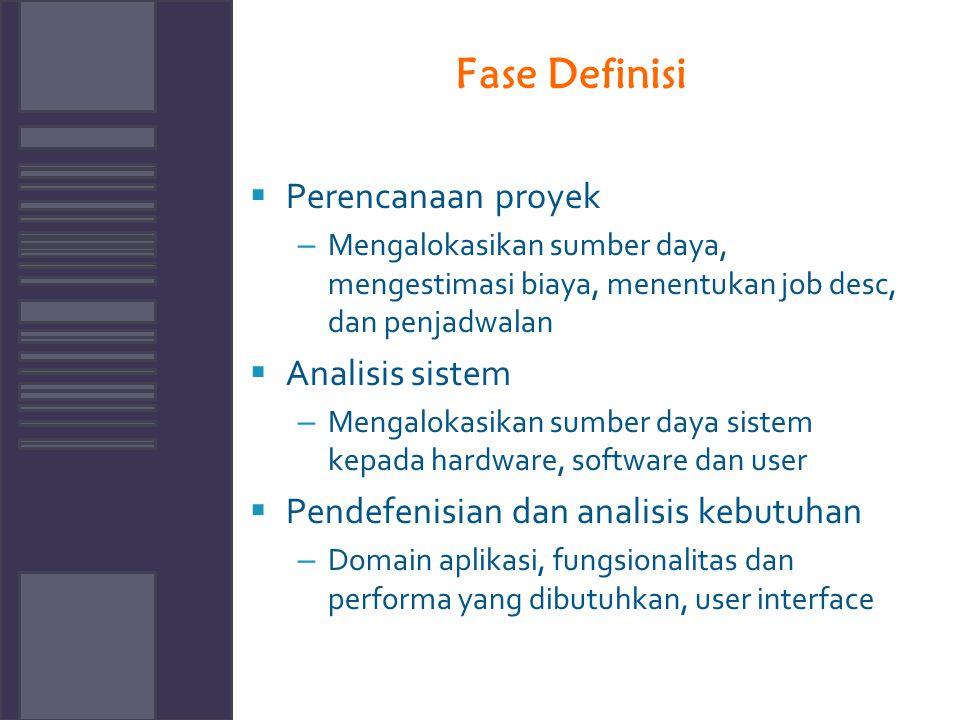Fase Definisi Perencanaan proyek Analisis sistem