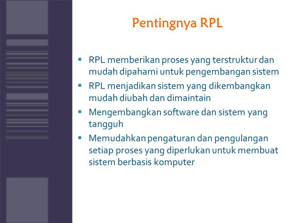 Pentingnya RPL RPL memberikan proses yang terstruktur dan mudah dipahami untuk pengembangan sistem.