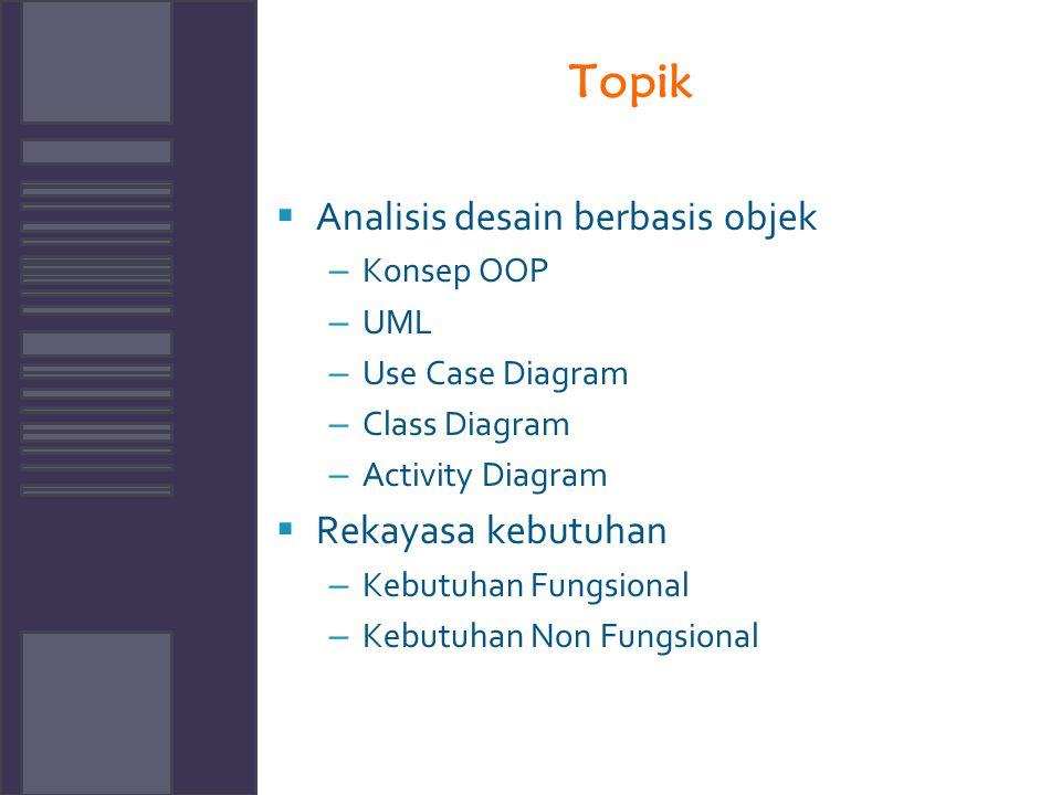 Topik Analisis desain berbasis objek Rekayasa kebutuhan Konsep OOP UML