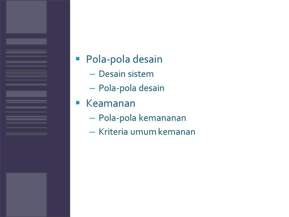 Pola-pola desain Keamanan Desain sistem Pola-pola kemananan