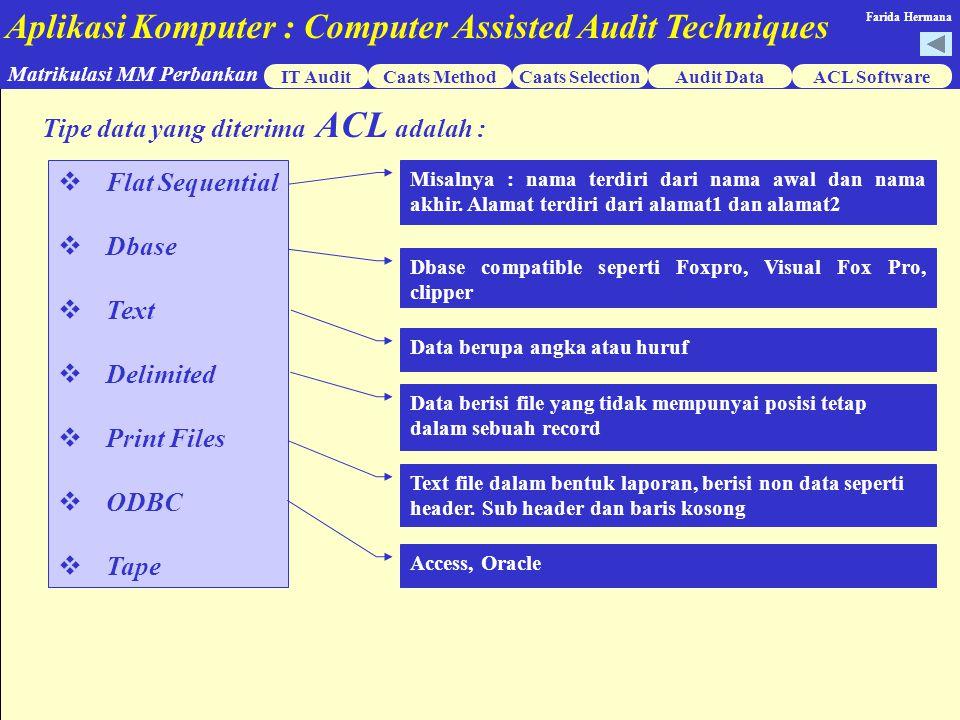 Tipe data yang diterima ACL adalah :