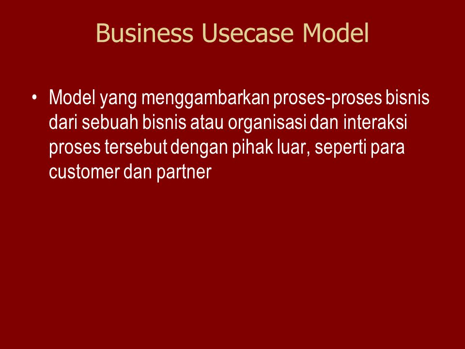 Business Usecase Model