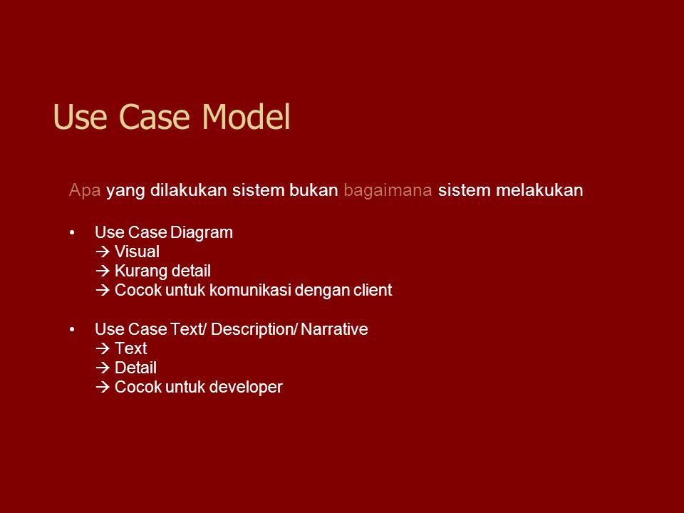 Use Case Model Apa yang dilakukan sistem bukan bagaimana sistem melakukan. Use Case Diagram.  Visual.
