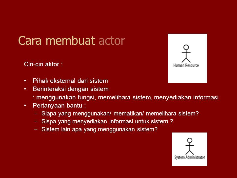 Cara membuat actor Ciri-ciri aktor : Pihak eksternal dari sistem