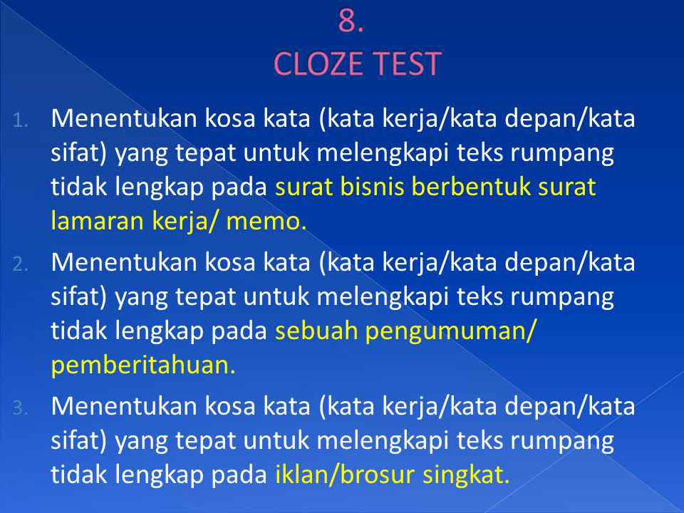 8. CLOZE TEST