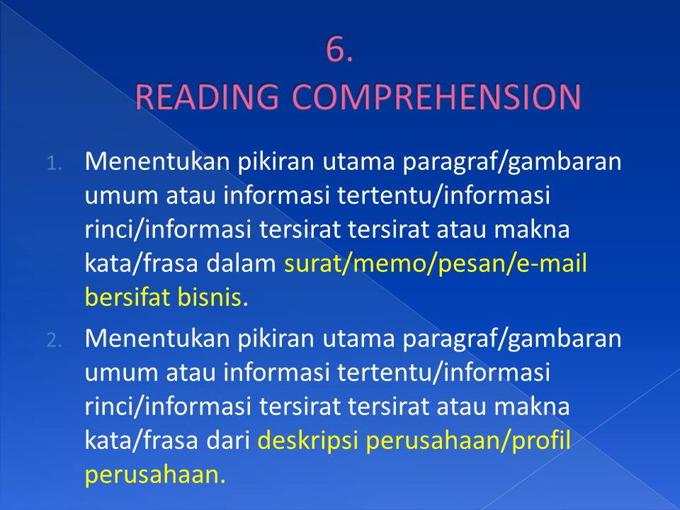 6. READING COMPREHENSION