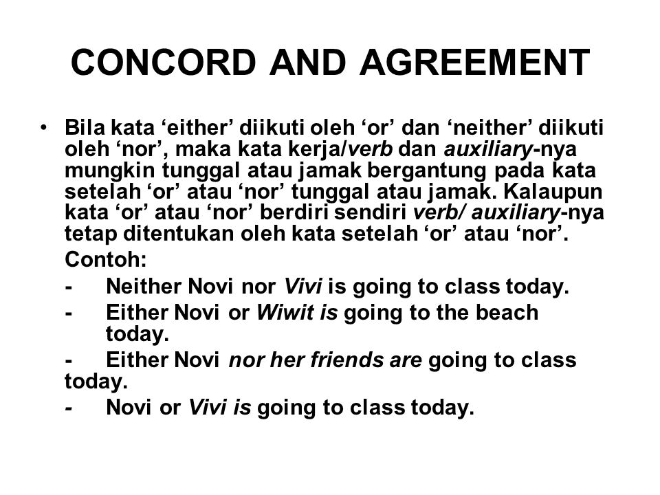 CONCORD AND AGREEMENT