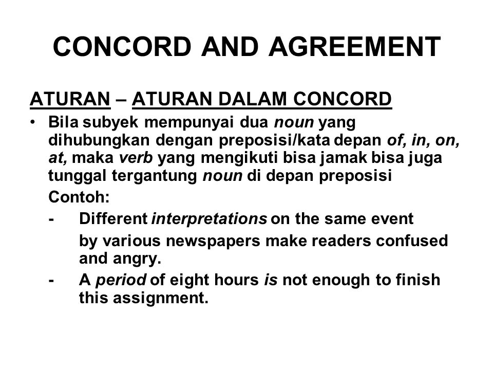 CONCORD AND AGREEMENT ATURAN – ATURAN DALAM CONCORD