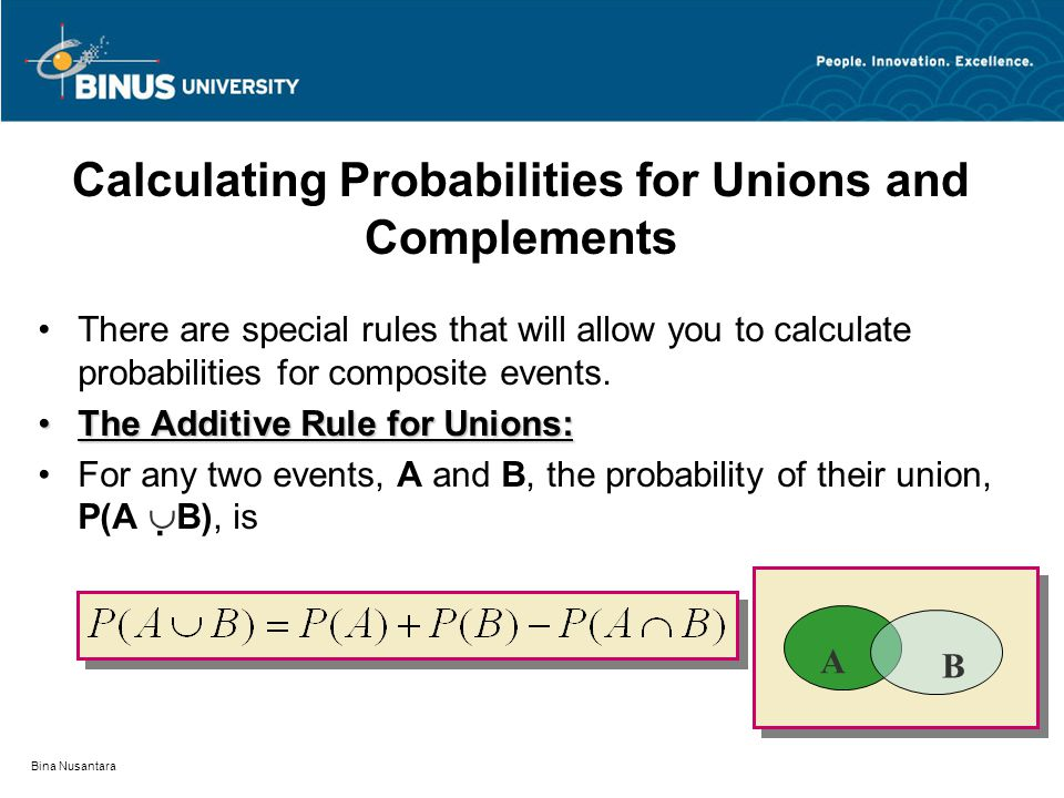 Calculating Probabilities for Unions and Complements
