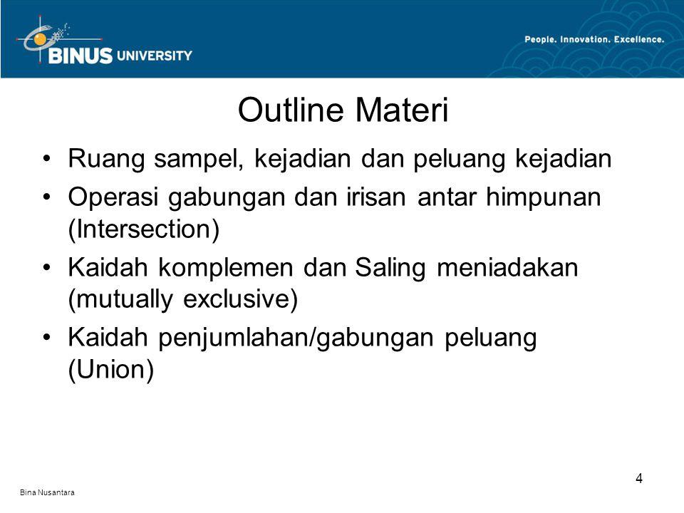 Outline Materi Ruang sampel, kejadian dan peluang kejadian