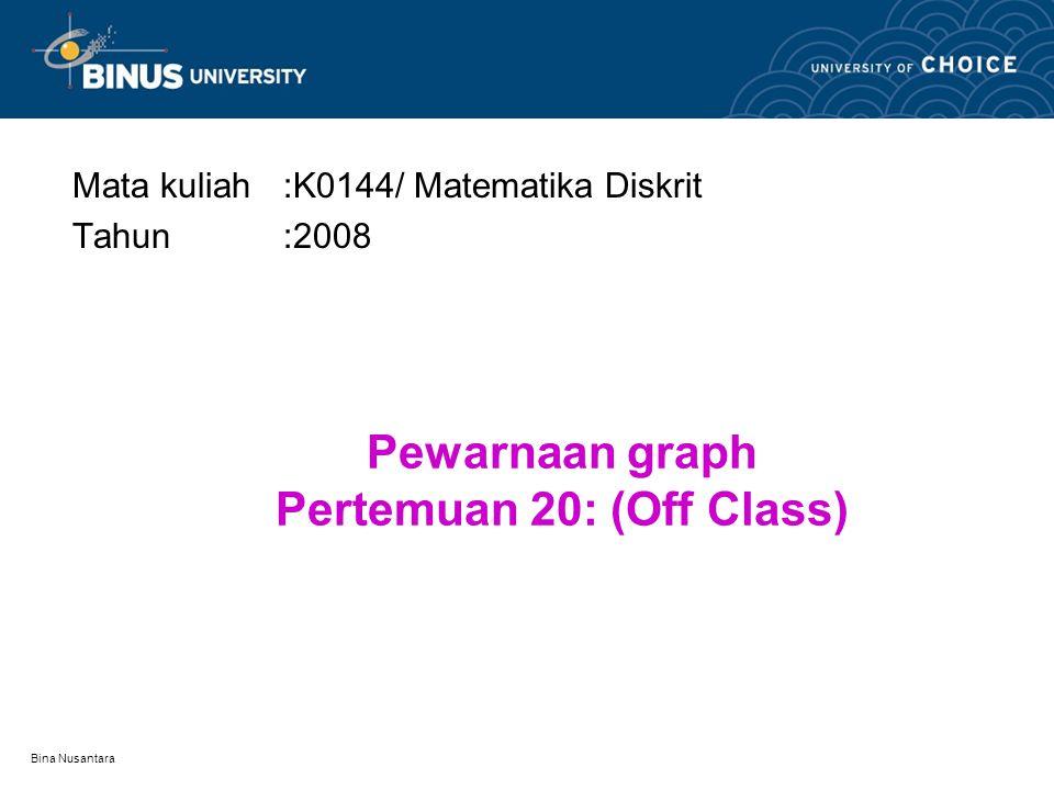 Pewarnaan graph Pertemuan 20: (Off Class)