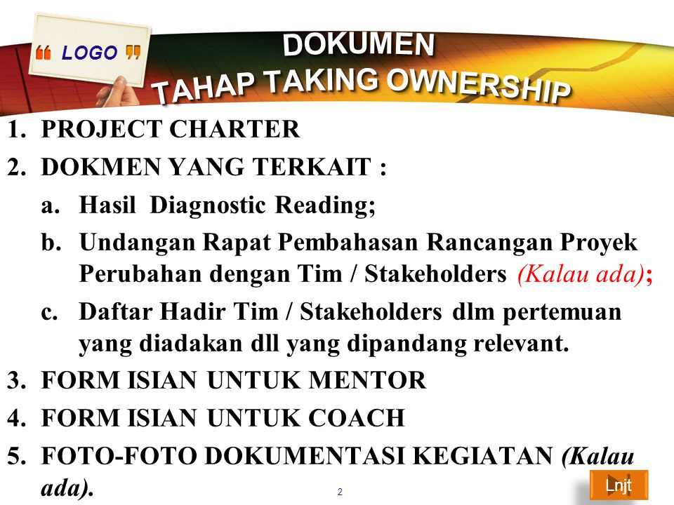 DOKUMEN TAHAP TAKING OWNERSHIP