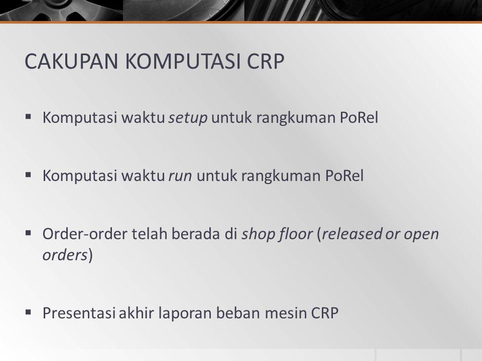 CAKUPAN KOMPUTASI CRP Komputasi waktu setup untuk rangkuman PoRel