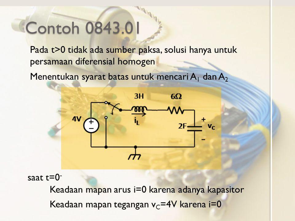 Contoh 0843.01 Pada t>0 tidak ada sumber paksa, solusi hanya untuk persamaan diferensial homogen. Menentukan syarat batas untuk mencari A1 dan A2.
