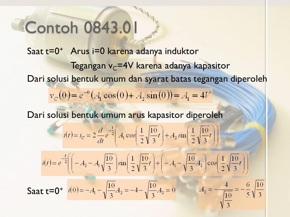 Contoh 0843.01 Saat t=0+ Arus i=0 karena adanya induktor