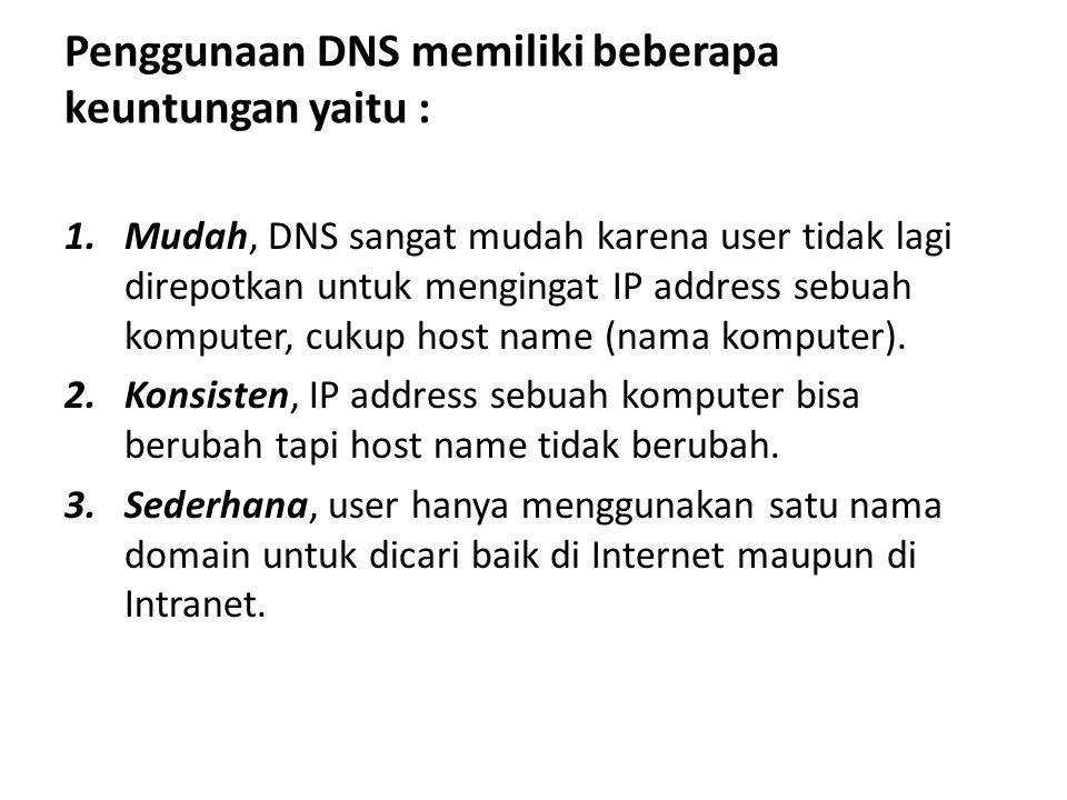 Penggunaan DNS memiliki beberapa keuntungan yaitu :