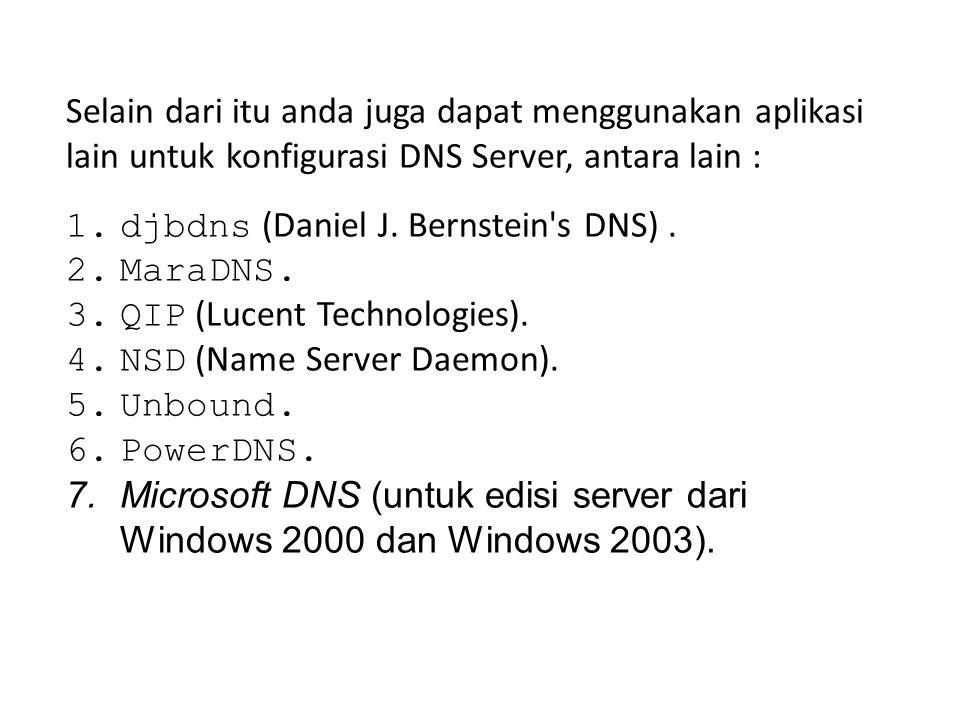 Selain dari itu anda juga dapat menggunakan aplikasi lain untuk konfigurasi DNS Server, antara lain :