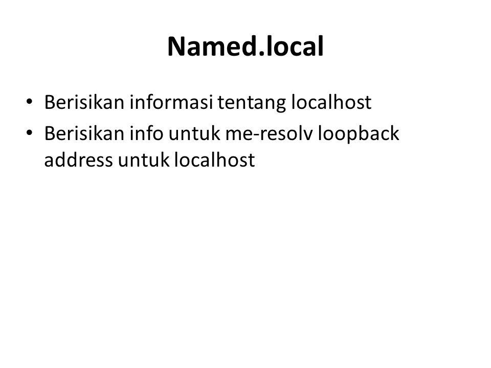 Named.local Berisikan informasi tentang localhost
