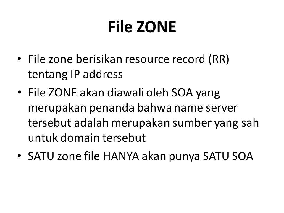 File ZONE File zone berisikan resource record (RR) tentang IP address