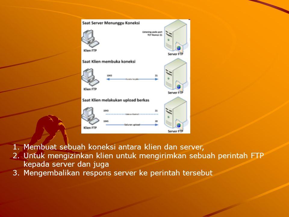Membuat sebuah koneksi antara klien dan server,