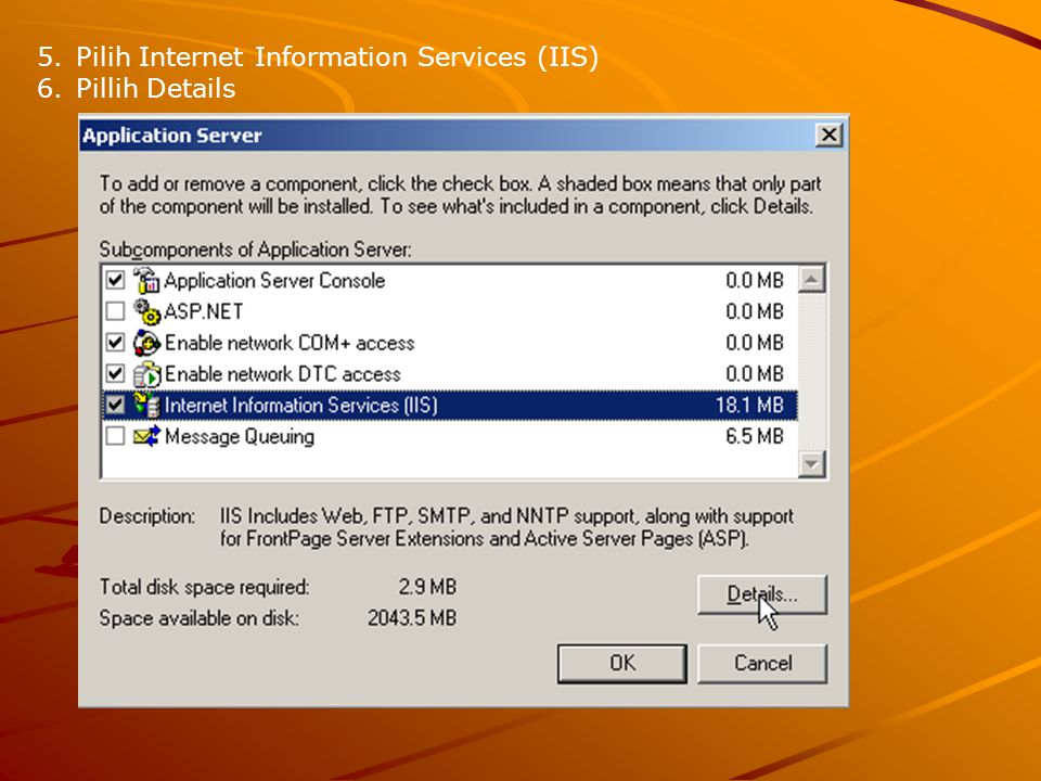 Pilih Internet Information Services (IIS)